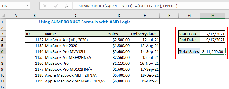 Enter dates and see the output