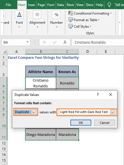 Dialog Box - Excel Compare Two Strings for Similarity
