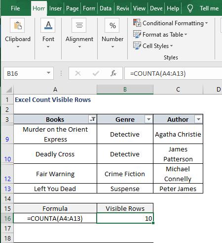 COUNTA - result - Excel Count Visible Rows
