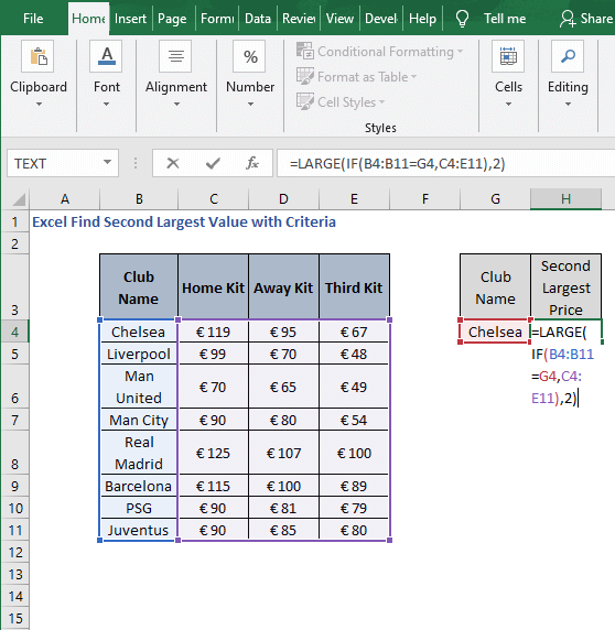 LARGE - Excel Find Second Largest Value with Criteria