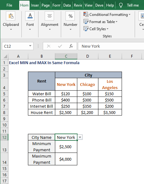 Min -Max payment - Excel MIN and MAX In Same Formula