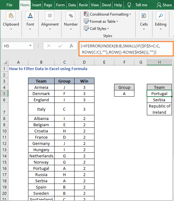 INDEX SMALL - How to Filter Data in Excel using Formula