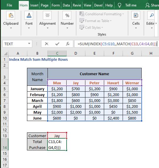 SUM function - Index Match Sum Multiple Rows