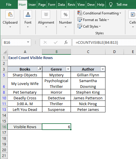 Filter - COUNTVISIBLE - Excel Count Visible Rows