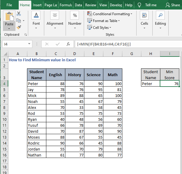 MIN-IF result - How to Find Minimum value in Excel