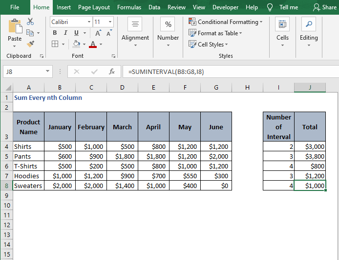 Fill all - Sum Every nth Column