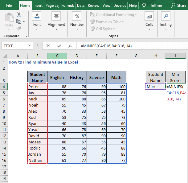 MINIFS - How to Find Minimum value in Excel