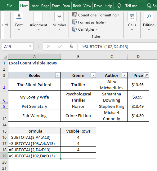 Subtotal 102-Excel Count Visible Rows