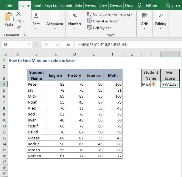 ERROR MINIFS - How to Find Minimum value in Excel