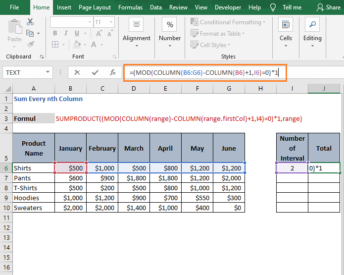 Product with 1 -Sum Every nth Column