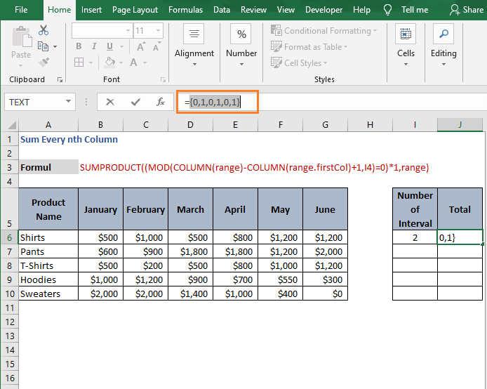 Multiple 1 Result-Sum Every nth Column