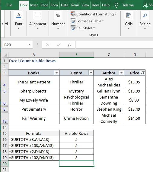 SUBTOTAL 102 filter result - Excel Count Visible Rows