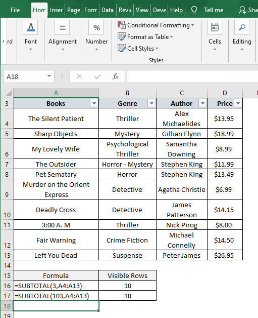 New column - Excel Count Visible Rows