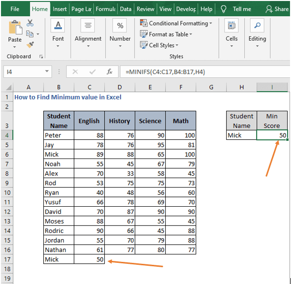 Extra example of MINIFS - How to Find Minimum value in Excel