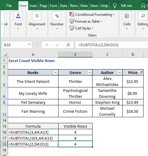 Number filter visible - Excel Count Visible Rows