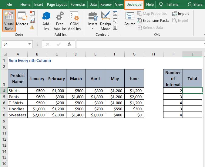 Visual Basic -Sum Every nth Column