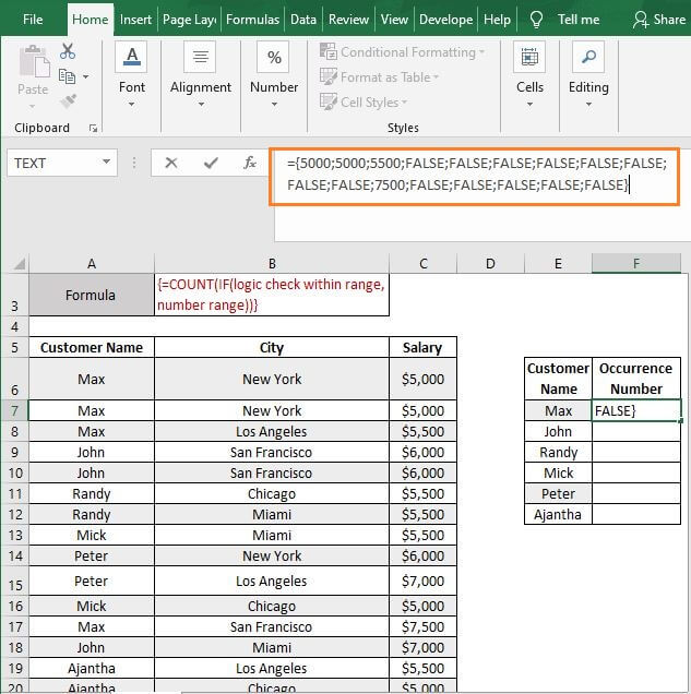 IF array - Excel Count Number of Occurrences of Each Value in a Column