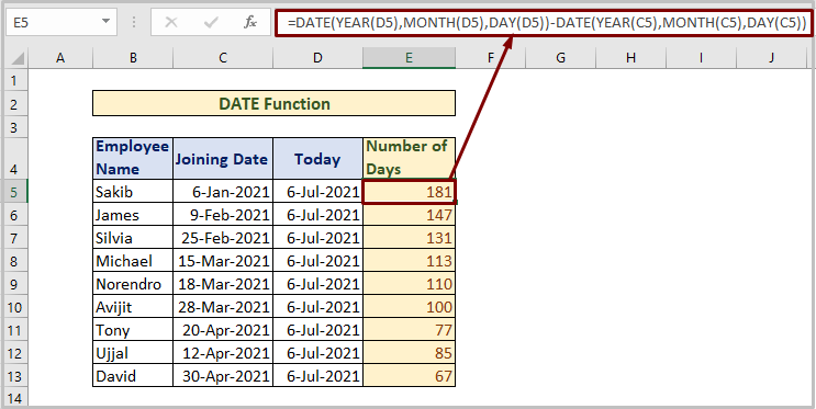 DATE Function to Count Days from Date to Today