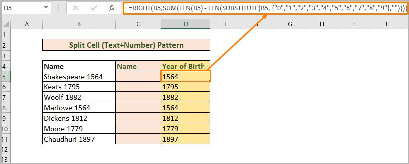 Split Cell Text+Number Pattern