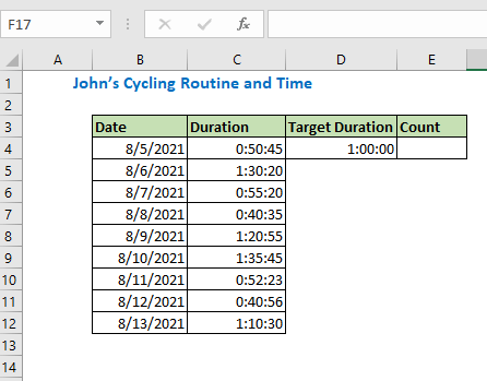 Count time using Countif function