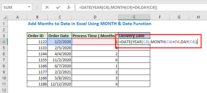 Enter the formula using DATE and Month function