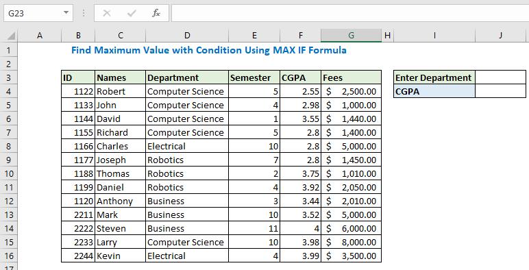 Find maximum value using MAX IF formula