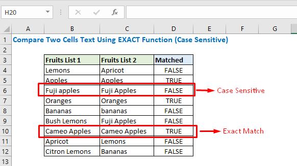 Observesion of Excat function