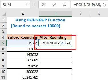 Using ROUNDUP Function