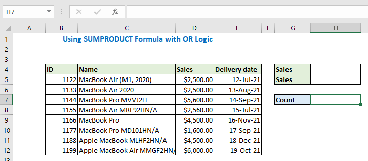 Using SUMPRODUCT Formula with OR Logic