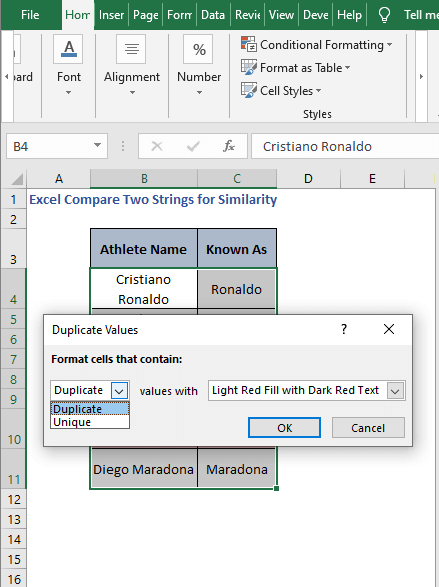 Unique or Duplicate - Excel Compare Two Strings for Similarity
