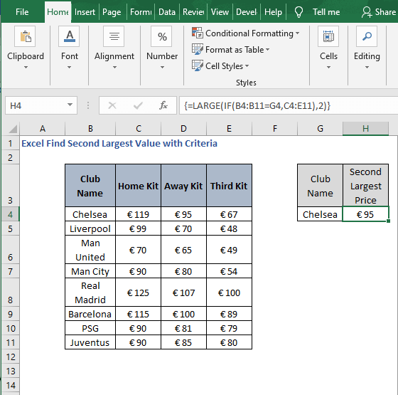 LARGE function result - Excel Find Second Largest Value with Criteria