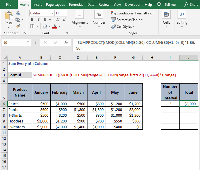 Result of formula - Sum Every nth Column