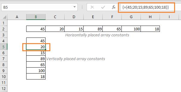Array Constants in Excel