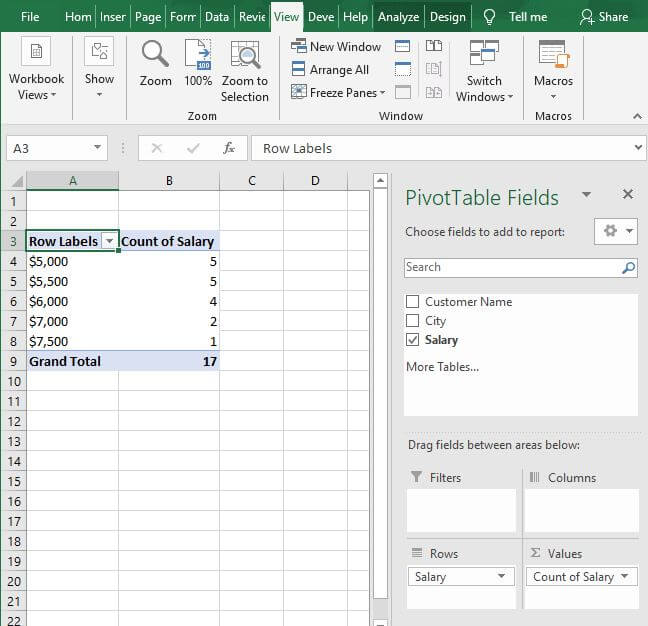 Number pivot - Excel Count Number of Occurrences of Each Value in a Column