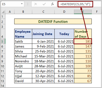 DATEDIF Function to Count Days from Date to Today