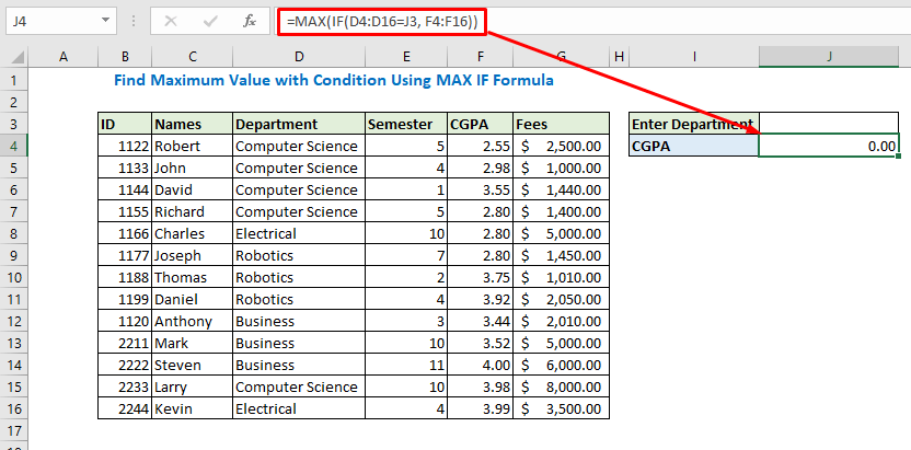 Enter the formula using MAX IF