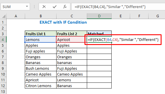 Exact function with IF