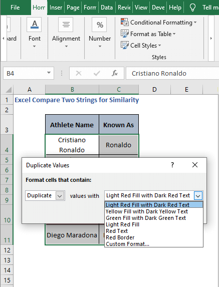 Select format dialog box - Excel Compare Two Strings for Similarity