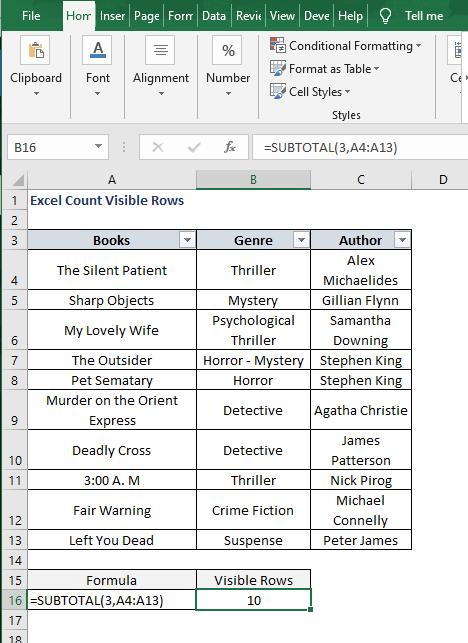 SUBTOTAL formula - Write the formula in Excel.