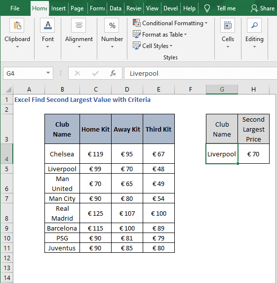 Example - Excel Find Second Largest Value with Criteria