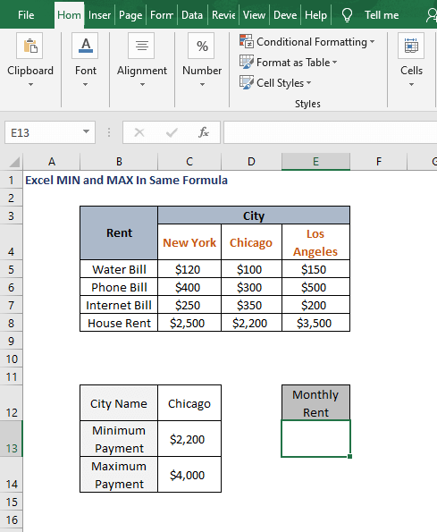 Constraints - Excel MIN and MAX In Same Formula