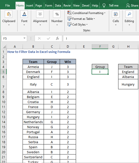 Example - How to Filter Data in Excel using Formula