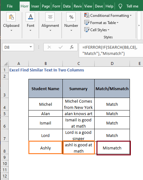 Fill rows - Excel Find Similar Text In Two Columns