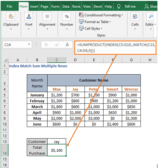 SUMPRODUCT - Index Match Sum Multiple Rows