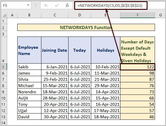 NETWORKDAYS to Count Days from Date to Today