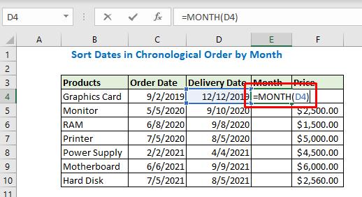 Enter formula using month function