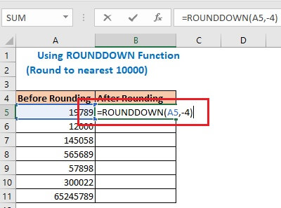 Enter the formula using ROUNDDOWN function in cell B5