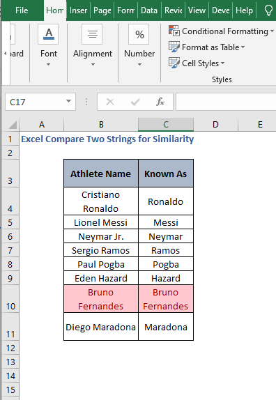 Result from Excel tools - Excel Compare Two Strings for Similarity