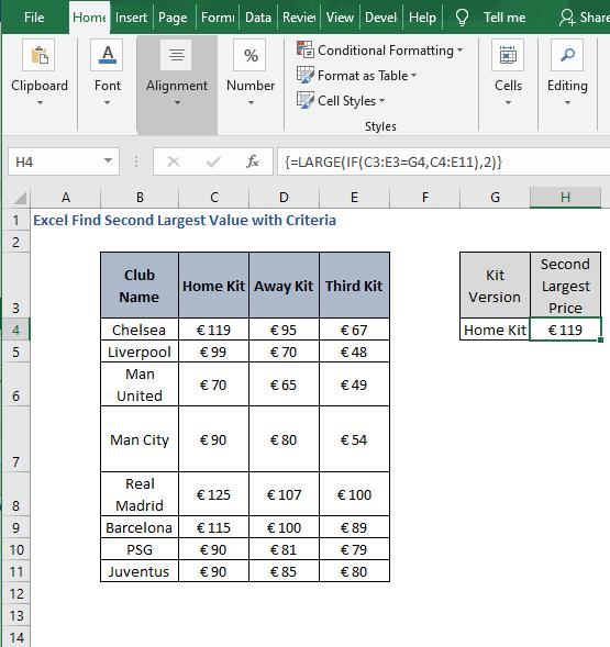 Version Criteria - Excel Find Second Largest Value with Criteria