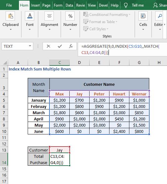 AGGREGATE - Index Match Sum Multiple Rows